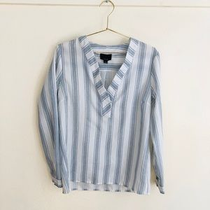 Lumiere white blue striped v-neck top blouse shirt
